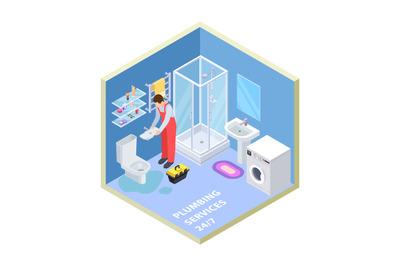 Plumbing service. Isometric bathroom. Vector plumber repairing toilet