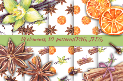 Watercolor spices, 10 patterns.