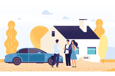Property concept. Happy young couple buys a house. Vector real estate