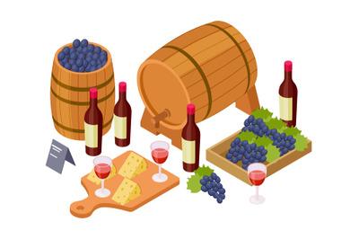 Wine tasting concept. Isometric wine, wooden barrels, glasses, grapes.