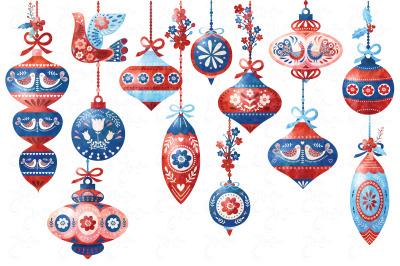 Watercolor Scandinavian Ornaments