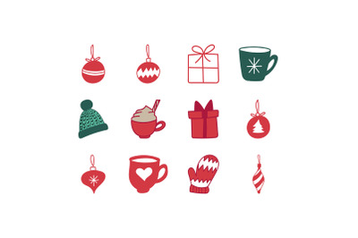 Hand-drawn Christmas Ornaments Icon Set
