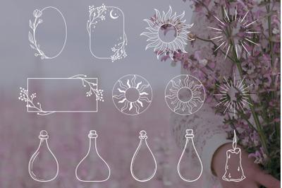 White Logo Elements Illustrations, Frames. Astrology, Cosmetics. Icons