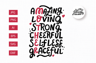 Amazing, loving, strong, cheerful. Mothsr svg. Mothers day quote. Mom