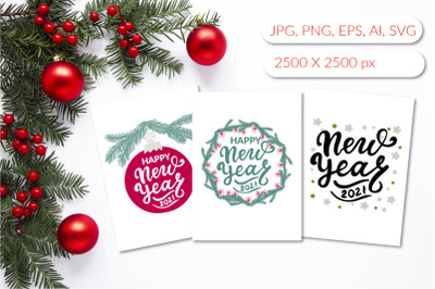 Happy new year 2021 greeting cards set in jpg, svg files, png, eps10.