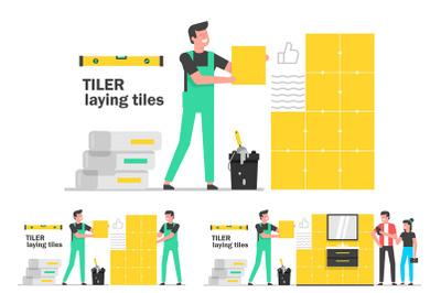 Tiler laying tiles