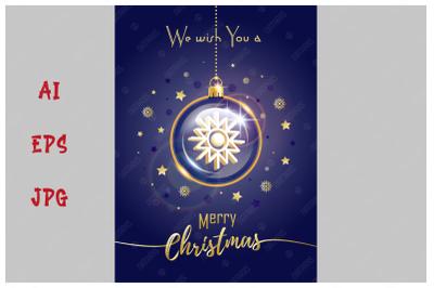 Merry Christmas greeting card. Christmas crystal ball.