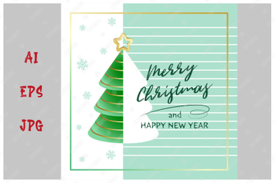 Merry Christmas and Happy New Year. Greeting card.