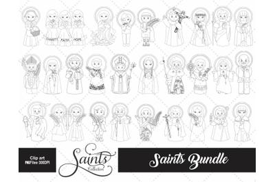 Saints Collection Digital Stamp BUNDLE, Black Line Images