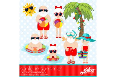 Santa in Summer, Christmas Holidays, Santa and Mrs
