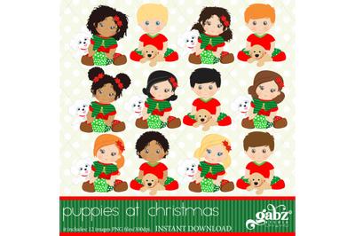Puppies at Christmas, Christmas Babies, Clipart