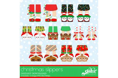 Christmas Slippers, Christmas Feet, Clipart