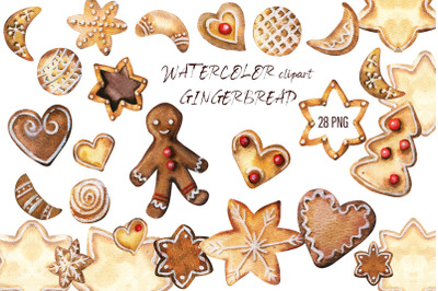 Christmas Gingerbread Watercolor Clipart