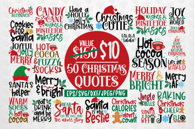 Big Merry Christmas Bundles - 50 SVG PNG EPS DXF JPG