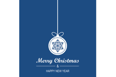 Blue Christmas and New Year Greeting Card Design