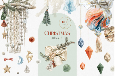 Christmas Modern Boho Decor Watercolor Set