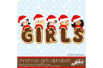Christmas Girls Alphabets, Cookies Christmas, Alphabet
