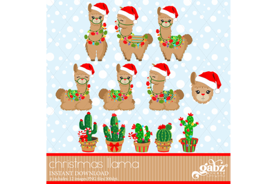 Christmas Llama, Brown Llama, Cactus, Colorful Llama