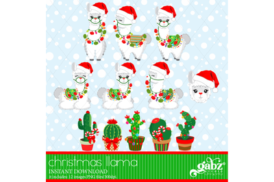 Christmas Llama, White Llama, Cactus, Colorful Llama