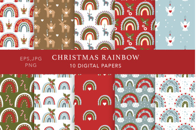 Christmas Rainbow Seamless Pattern Set