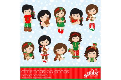 Christmas Pajamas, Clipart, Girls, Holidays, Pajamas