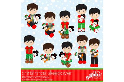 Christmas Sleepover, Clipart, Boys, Holidays, Pajamas
