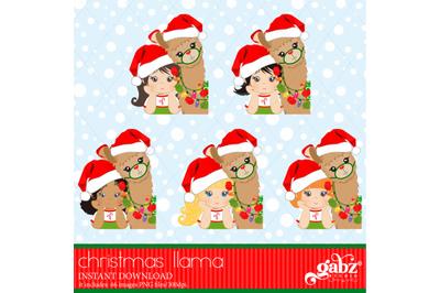 My Christmas Llama, Christmas Llama, Girl And Brown Llama