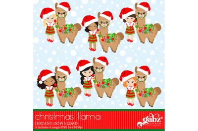 Christmas Llama, Christmas, Girl And Brown Llama, Colorful Llama