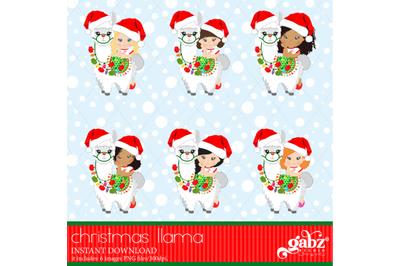 Christmas Llama, Christmas, Girl And White Llama, Colorful Llama
