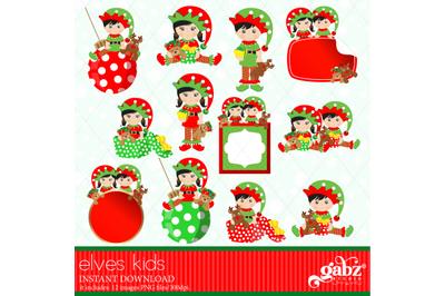 Elves Kids, Clipart, Girls, Boys, Holidays, Elves