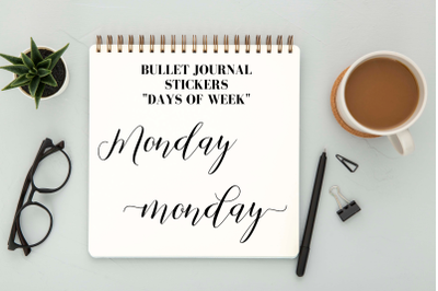 Calligrapfic stickers, Days of week clip arts