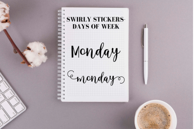 Swirly scripts, Days of the week stickers