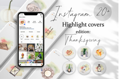 Thanksgiving Instagram Highlights Covers.Watercolor Images. Blog Icons