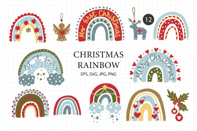 Christmas Rainbow Set. Eps, Svg, Png