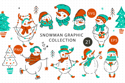 Snowman Christmas Graphic Pack.