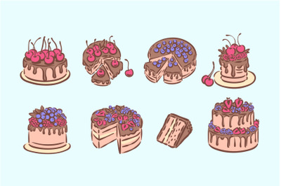 Cakes graphic illustration, and seamless pattern