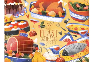 Watercolor Feast Set
