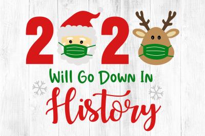 2020 Christmas Svg,  Christmas Quarantine, Reindeer & Santa Face Mask