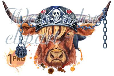 Watercolor illustration of a brown long-horned bull in biker bandana