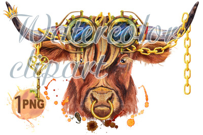Watercolor illustration of a brown long-horned bull with steampunk