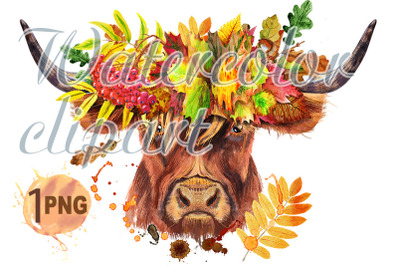 Watercolor illustration of a brown long-horned bull in a wreath