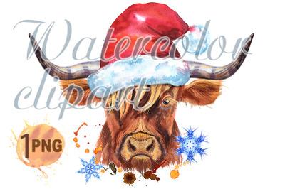 Watercolor illustration of a brown long-horned bull in Santa hat