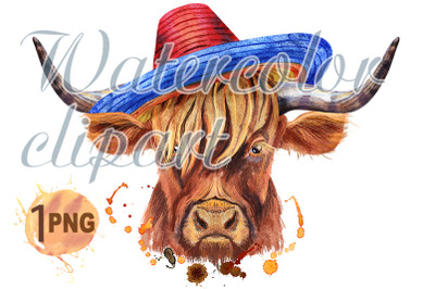 Watercolor illustration of a brown long-horned bull bull in sombrero