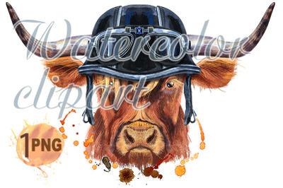 Watercolor illustration of a brown long-horned bull in a biker helmet