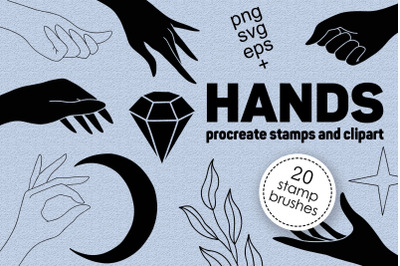Hands clipart and procreate stamps