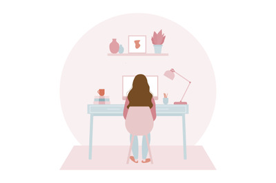 Young woman working on a computer at her home office Illustration
