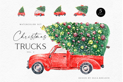 Watercolor red christmas truck clipart with christmas tree