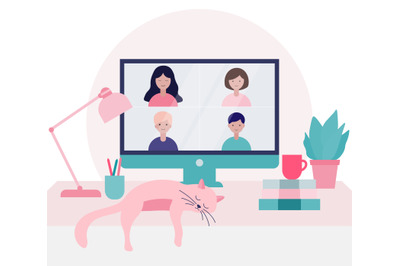Group of people doing a video conference call illustration