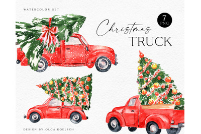 Red christmas truck clipart, watercolor kawaii christmas clipart for k
