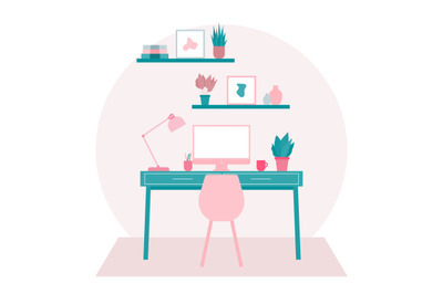 Home Office Interior Design Illustration